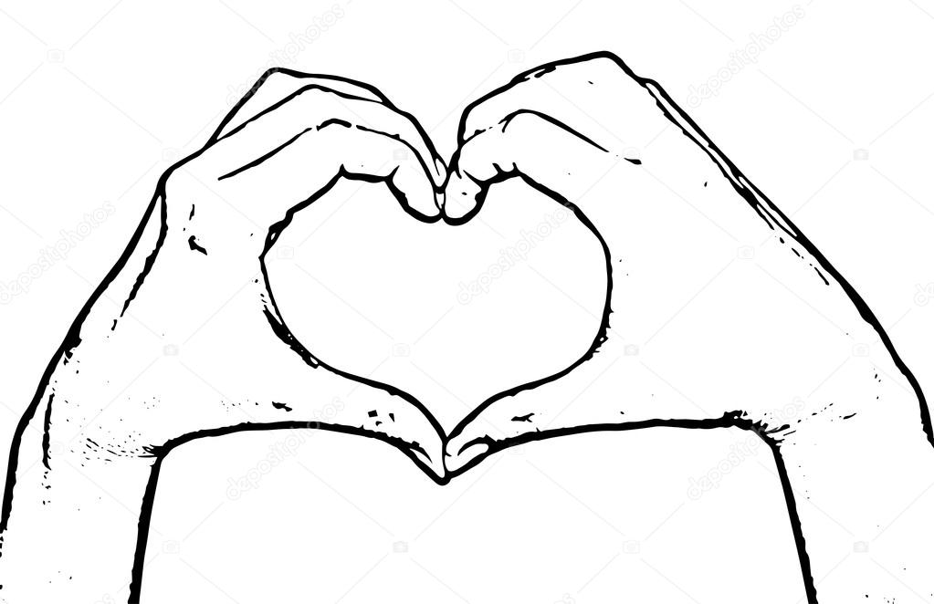1023x662 Female Hands Making Shape Heart, Black And White Vector Graphic