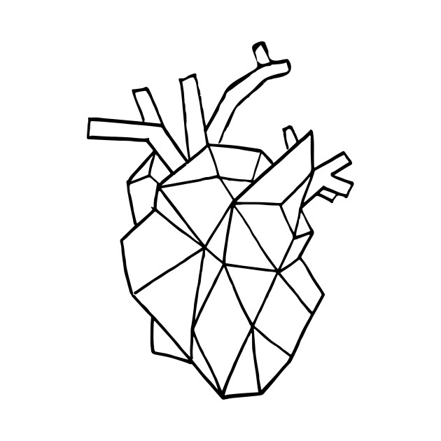 630x630 Geometric Heart (Black Brush)