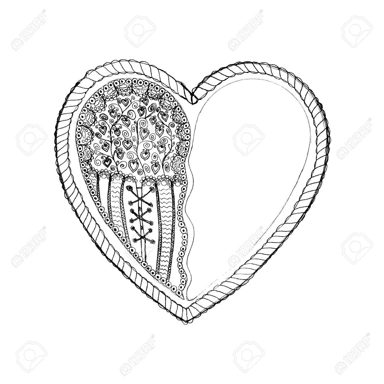 1300x1300 Ornate Hand Drawn Heart Sketch. Black On White Color. St