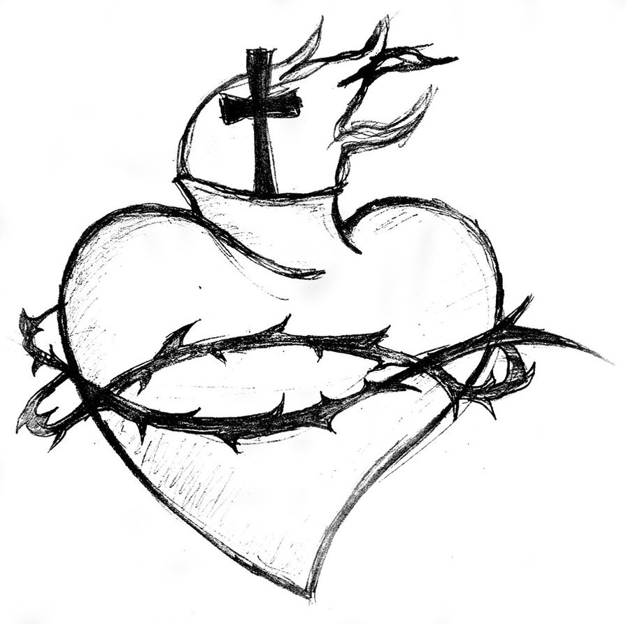 895x892 Sacred Heart Black And White By Xmidna