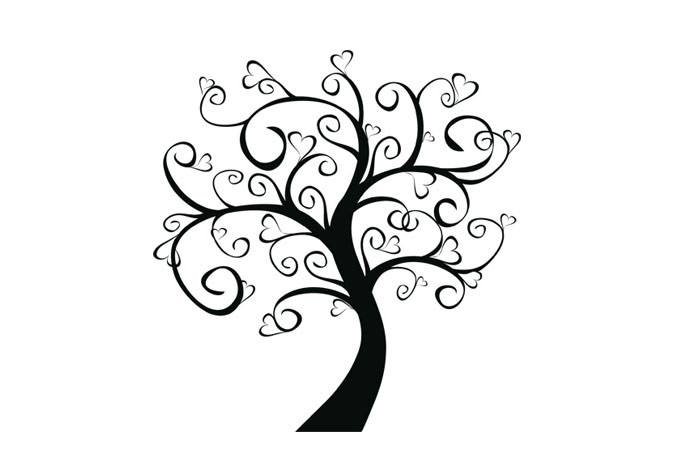 680x472 Tree Of Hearts Wall Decal