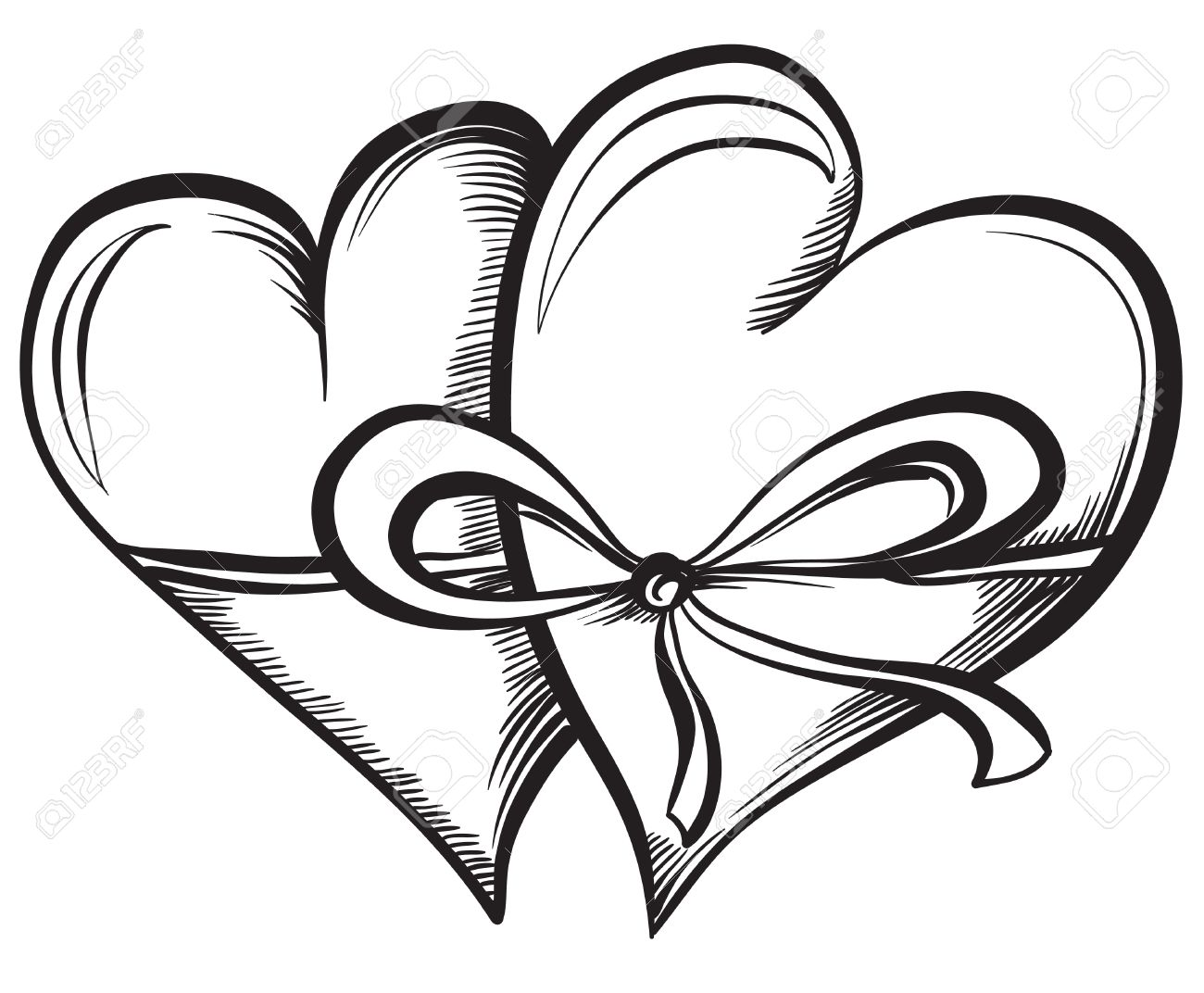 1300x1072 Two Valentine Hearts Together Tied Ribbon. Hand Drawn Sketch