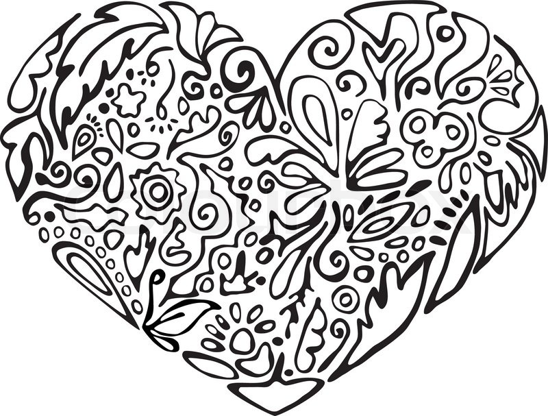 800x607 Black And White Heart, Floral Ornament Sketch, Stencil Stock