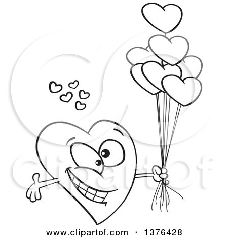 450x470 Clipart Of A Cartoon Black And White Romantic Love Heart Character