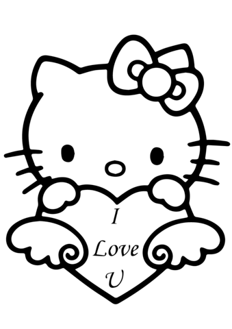 339x480 Hello Kitty With I Love You Heart Coloring Page Free Printable