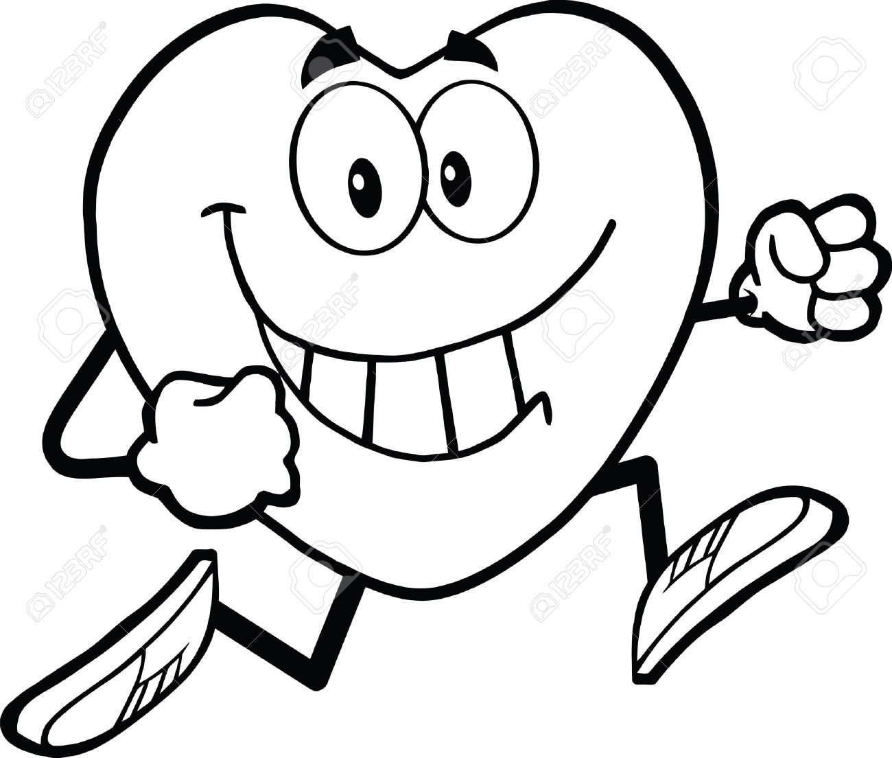 1300x1104 Black And White Smiling Heart Cartoon Mascot Character Running