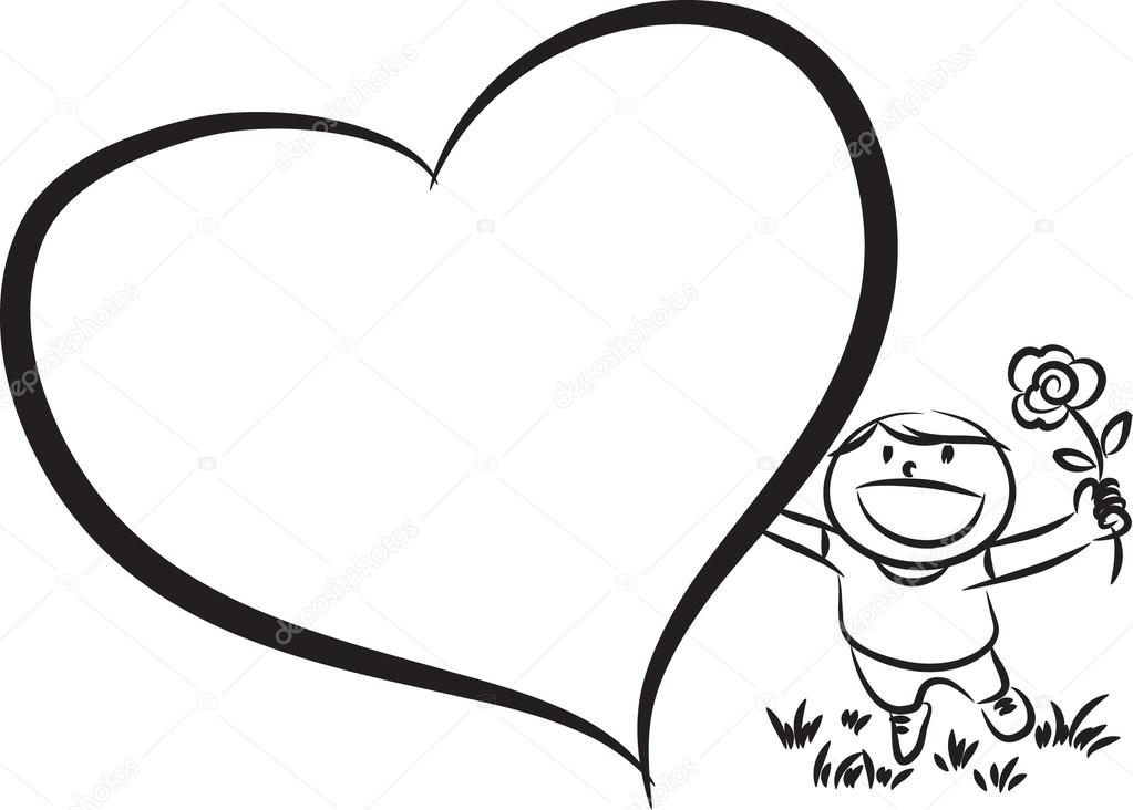 1023x732 Boy With Big Blank Heart Shape Stock Photo Wenpei