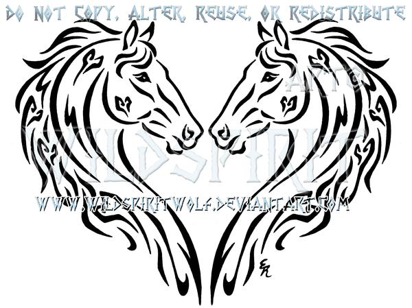 600x449 Dual Thoroughbreds Heart Design By Wildspiritwolf