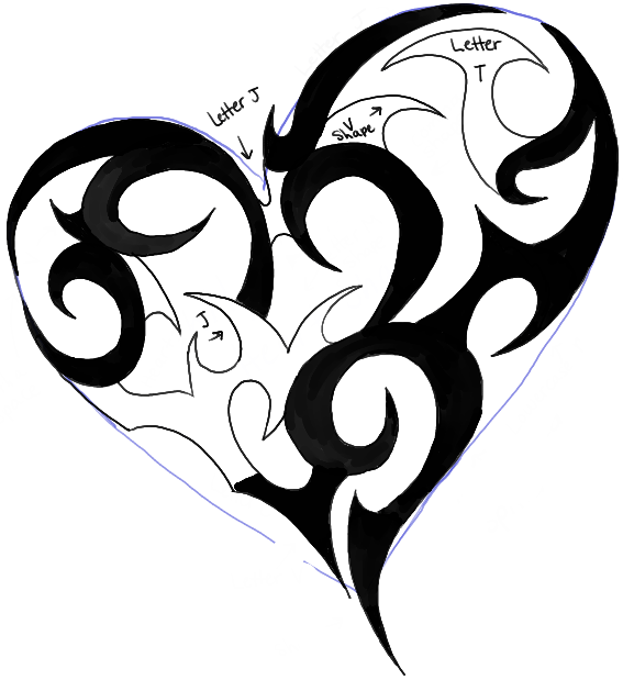 567x619 How To Draw A Tribal Heart Tattoo Design In Easy Steps Tutorial
