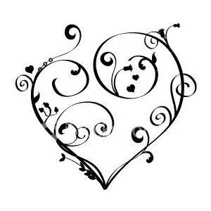 300x300 Scroll Tattoo Designs Red Heart With Scrollwork Design