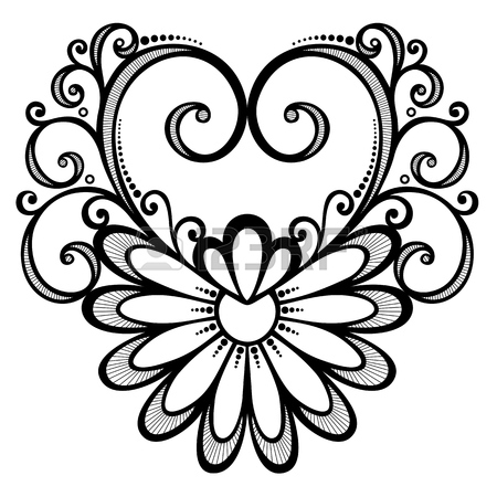 450x450 Vector Deco Abstract Heart. Hand Drawing Patterned Design Royalty