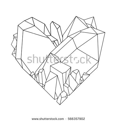 450x470 Drawn Crystals Crystal Heart