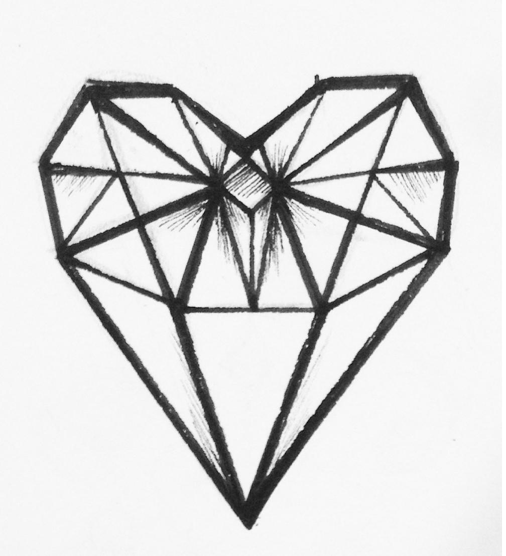 1008x1107 Glass Diamond, Tattoo, Diamond, Minimalist, Geometric Heart