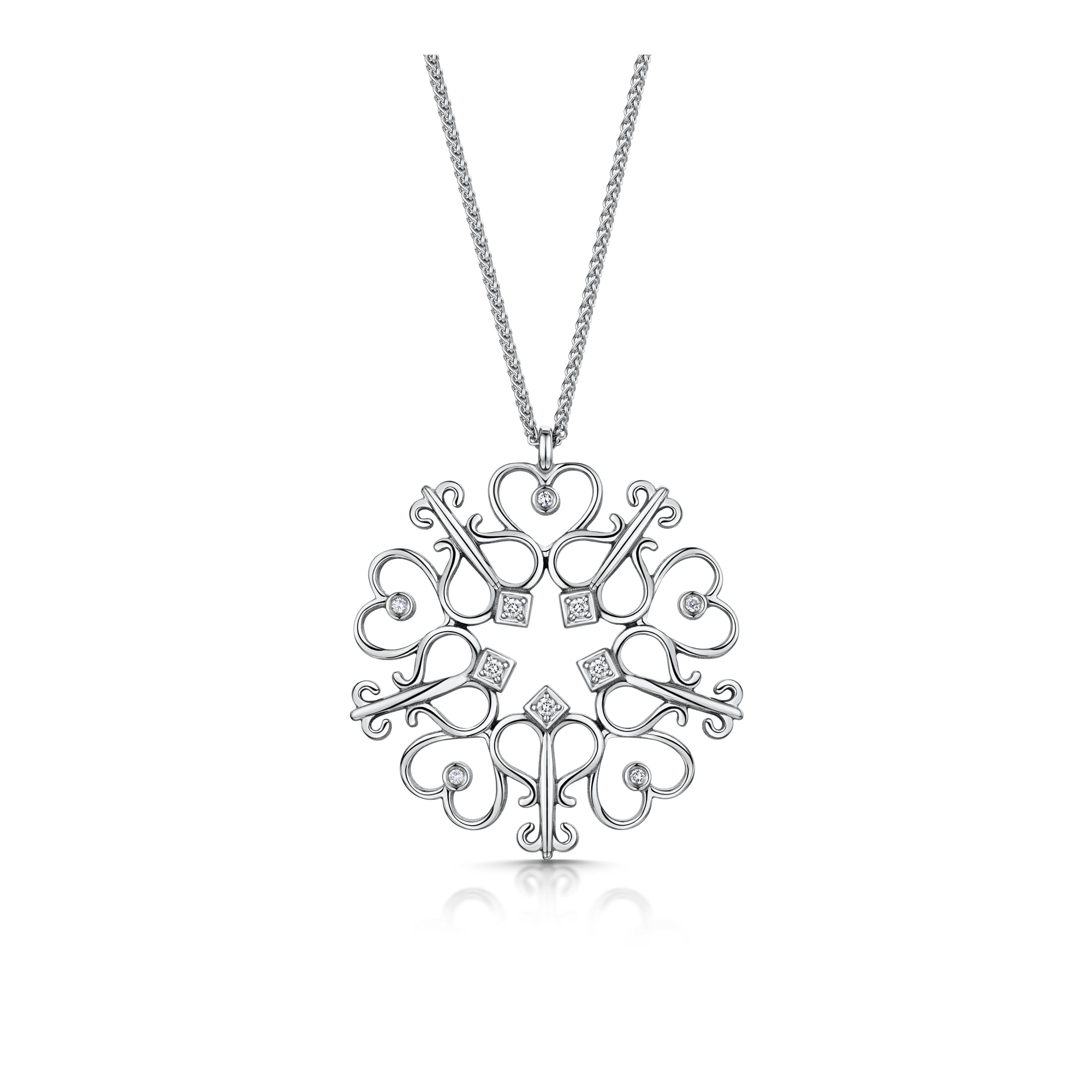 2000x2000 18ct White Gold Key And Heart Diamond Necklace