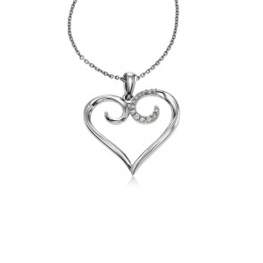 295x295 Shop All Heart Jewelry Diamond Heart Necklaces, Sterling Silver
