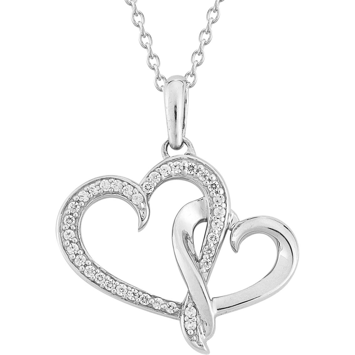 1134x1134 Sterling Silver 18 Ctw Diamond Double Heart Pendant Diamond