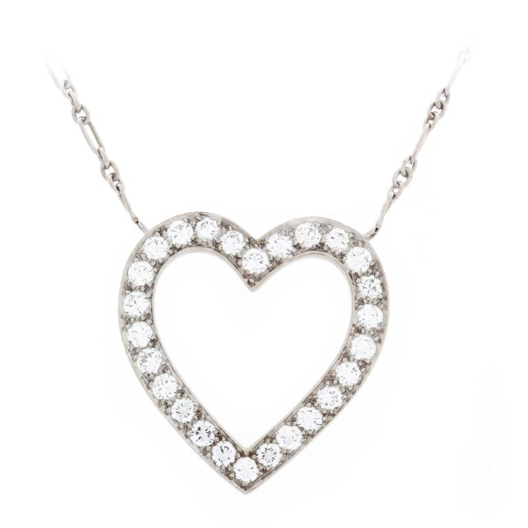 768x768 Tiffany And Co. Diamond Palladium Heart Necklace For Sale