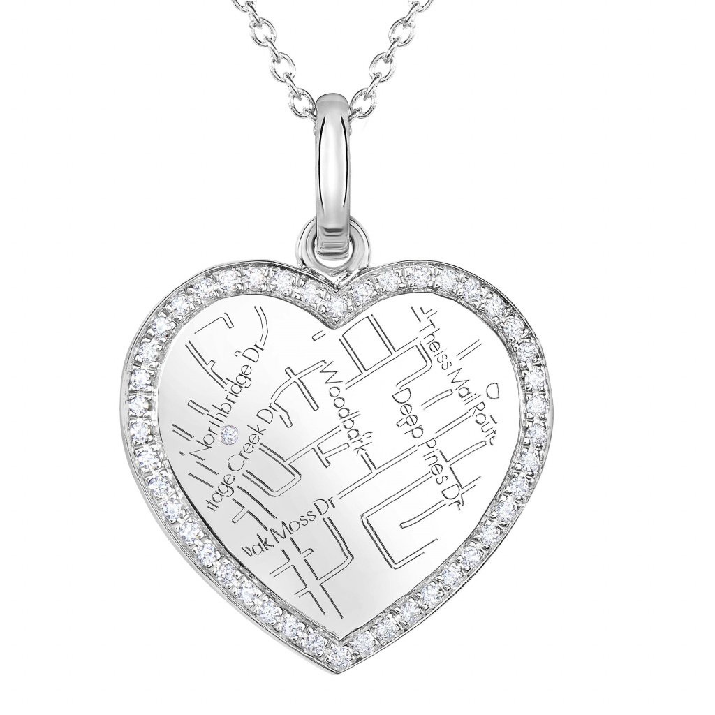 1024x1024 White Gold Heart Map Pendant With Diamond Border Maps By A.jaffe