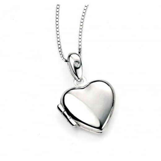 520x520 D For Diamond Silver Heart Locket Pendant
