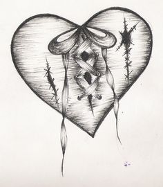 236x270 Drawn Hearts Design Drawing