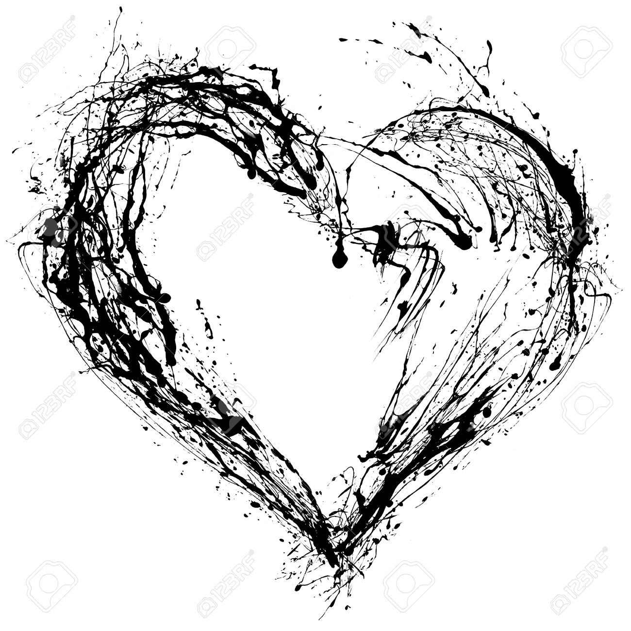 Heart Drawing Black And White