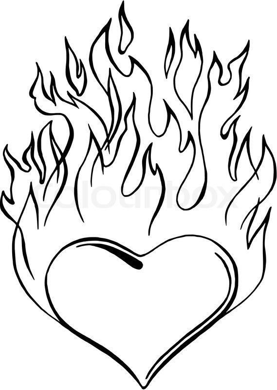 569x800 Hand Drawn, Vector, Sketch Illustration Of Flaming Heart Stock