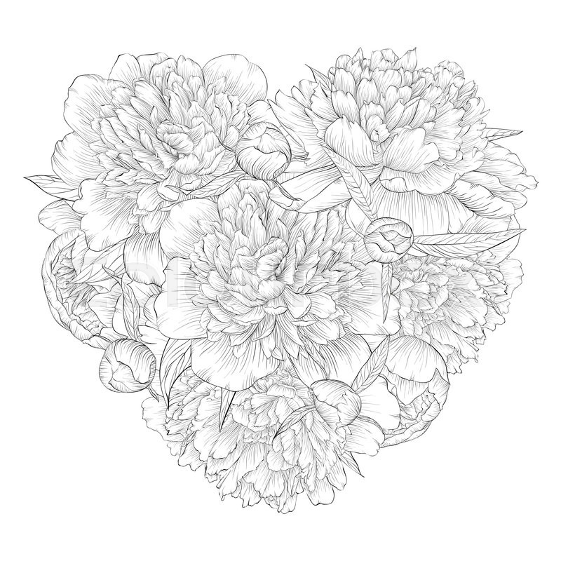 800x800 Beautiful Monochrome Black And White Heart Decorated By Flowers