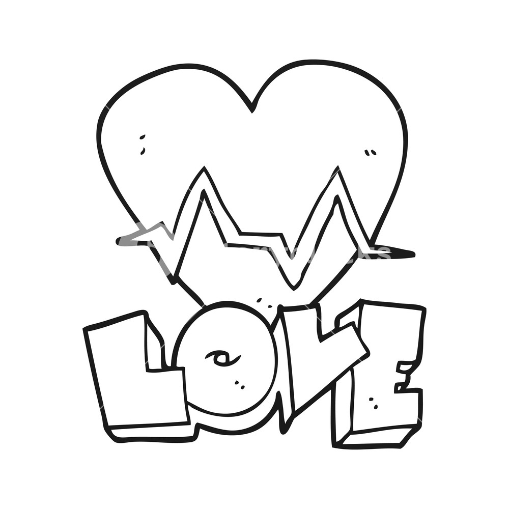 1000x1000 Freehand Drawn Black And White Cartoon Heart Rate Pulse Love
