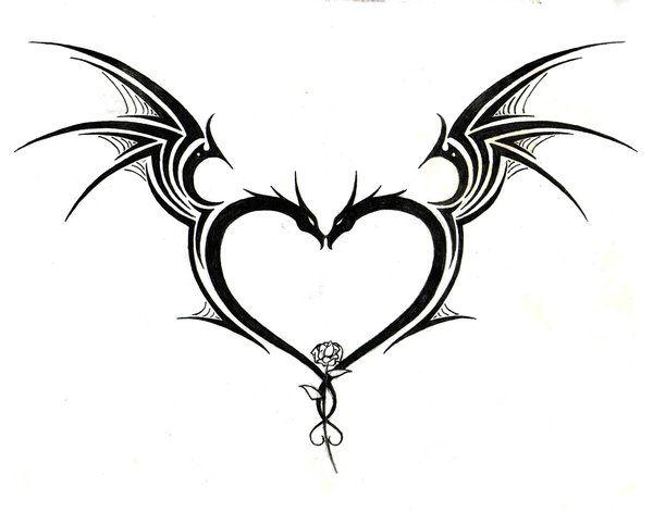 600x471 Drawn Hearts Tribal Heart