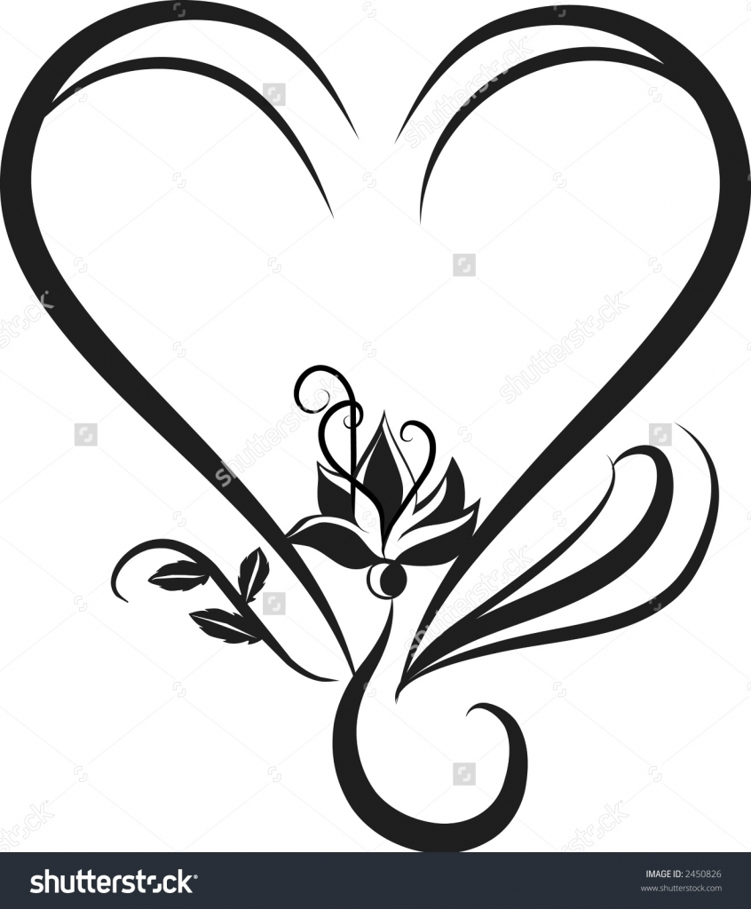 846x1024 Flower And Heart Drawings Roses And Heart Drawing Free Download