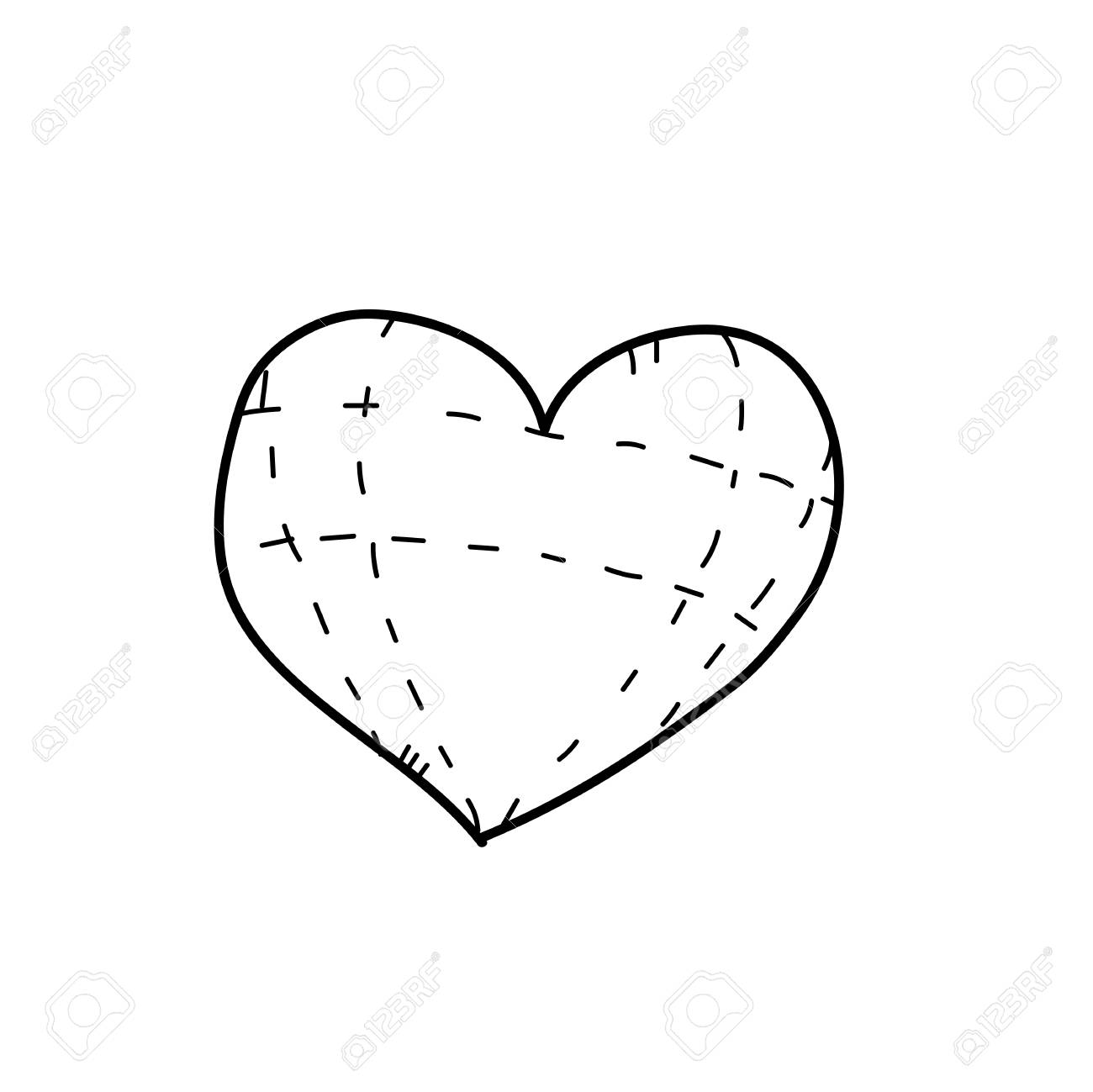 1300x1299 Freehand Drawing Illustration Of Heart Stock Photo, Picture