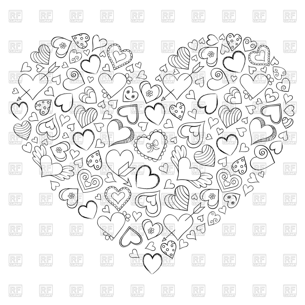 1200x1200 Hand Drawn Heart Made Of Little Hearts Royalty Free Vector Clip