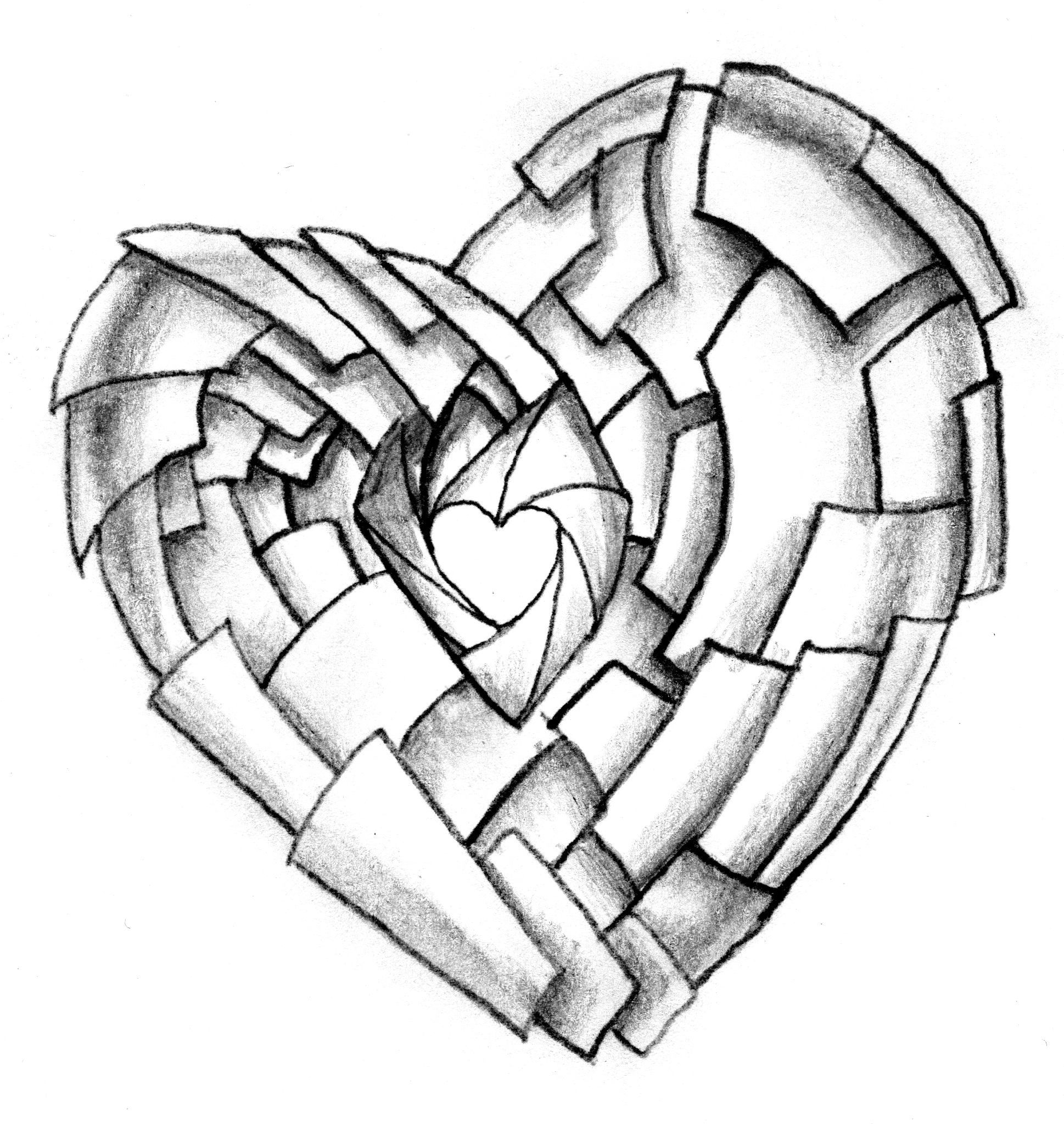 1938x2048 3d Broken Heart Drawing I Love You Drawings In Pencil With Heart
