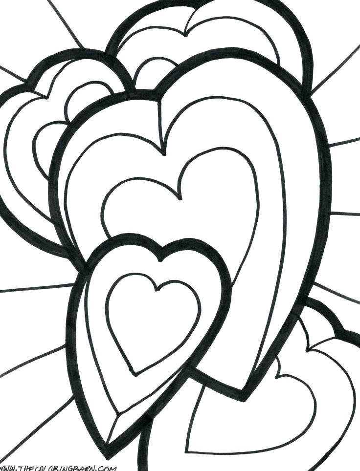 736x964 Cool Coloring Pages Heart Kids Hearts And Roses Page Bow Flying
