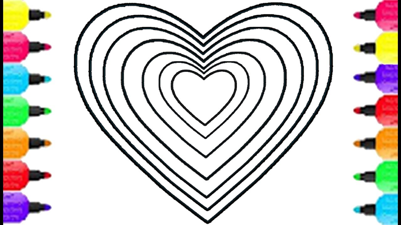 1280x720 Heart Shape Coloring Pages How To Draw Heart Shape And Coloring