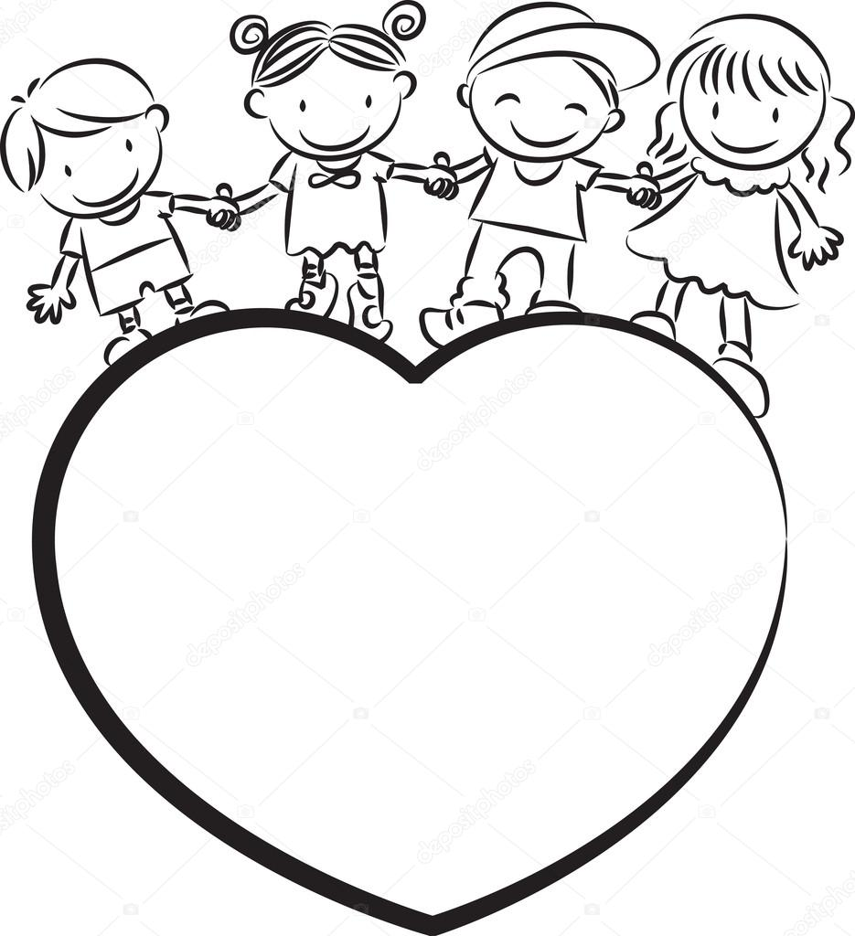 935x1024 Kids Standing On A Heart Shape Stock Photo Wenpei