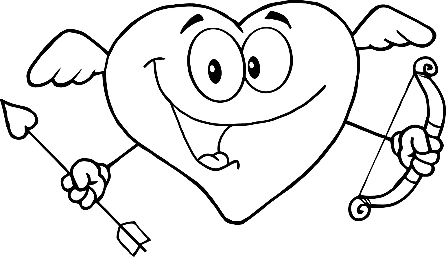 1542x891 Cute Love Coloring Page To Print Of Happy Heart For Kids