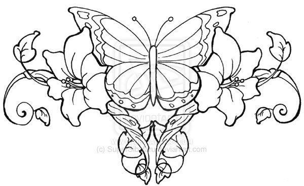 600x368 Back Tattoos Heart Drawings Of Flowers And Butterflies Hearts
