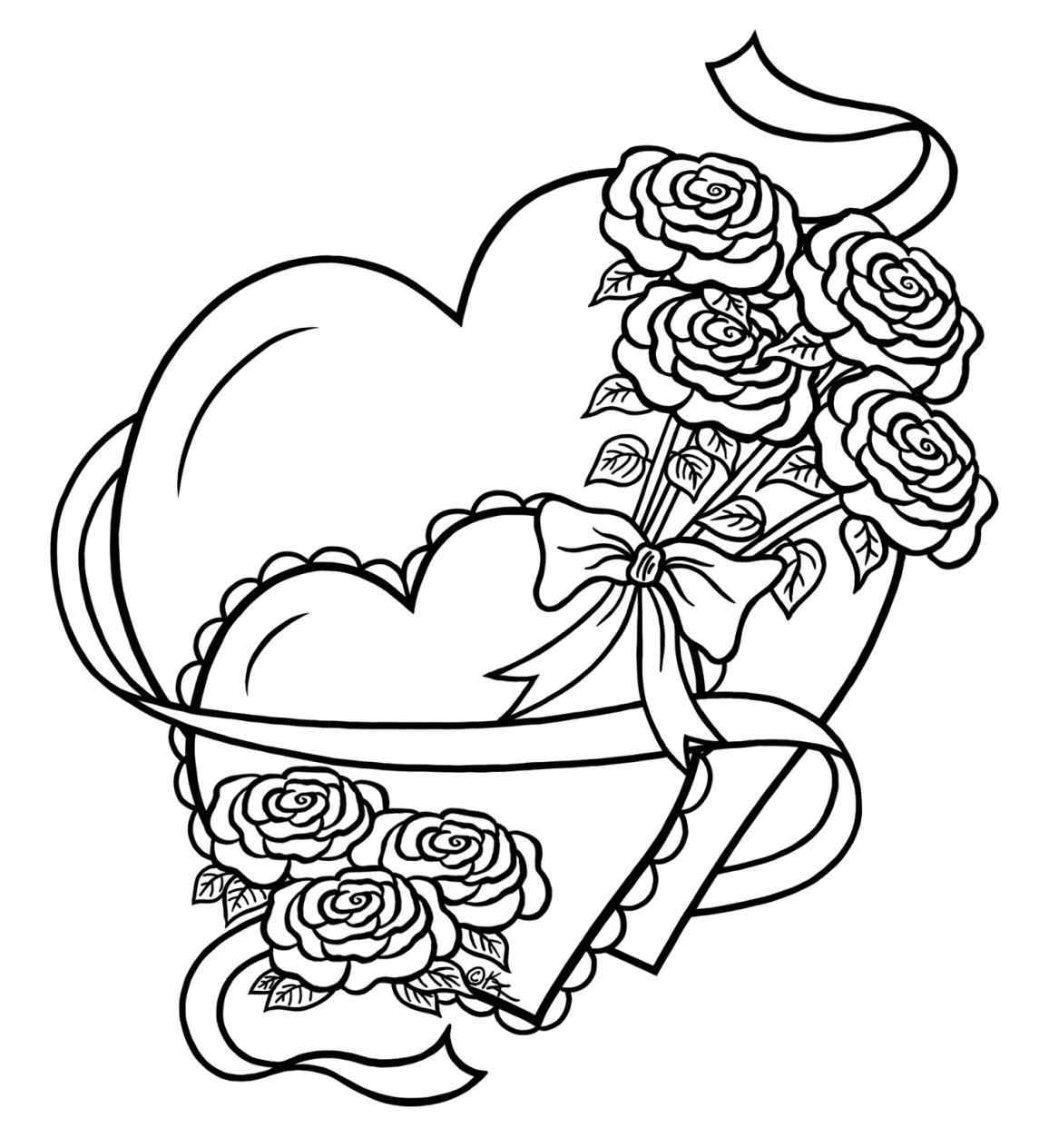 1145x1264 Heart And Rose Drawings In Pencil Group
