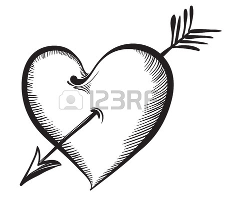 450x401 Valentine Heart. Key Lock In The Shape Of A Heart. Hand Drawn
