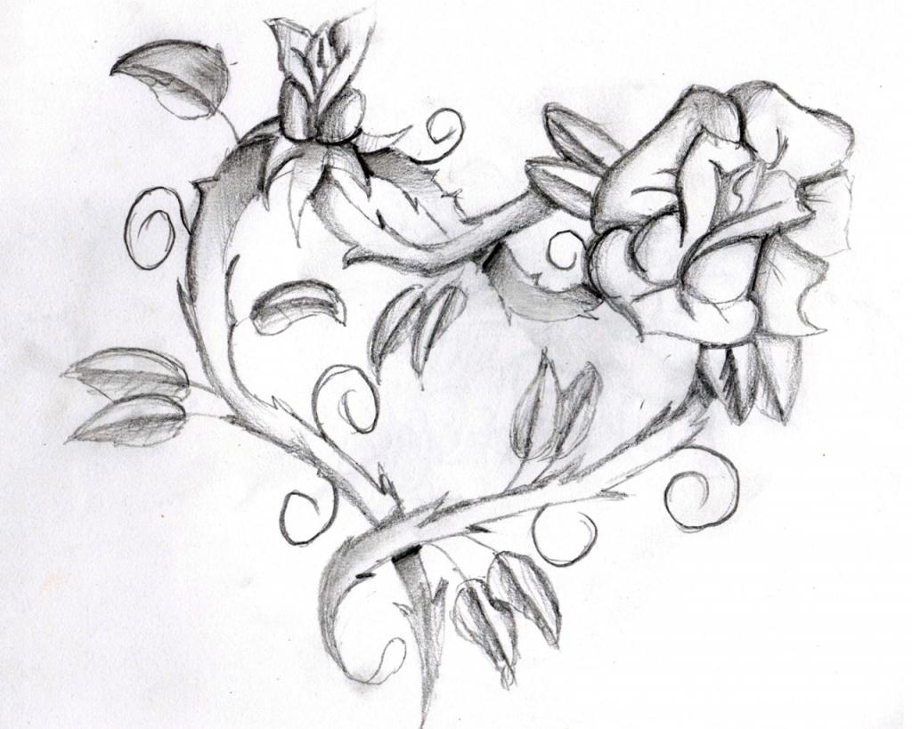 1024x819 Flower Heart Drawing