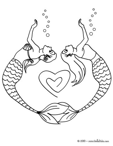 363x470 Mermaid Couple Drawing A Heart Coloring Pages