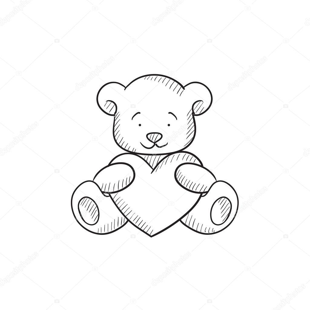 1024x1024 Teddy Bear With Heart Sketch Icon. Stock Vector Rastudio