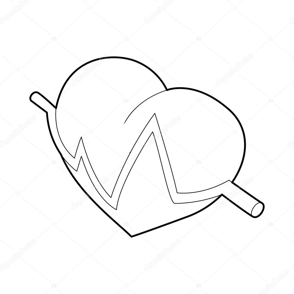 1024x1024 Heart Beat Pulse Icon, Outline Style Stock Vector Ylivdesign