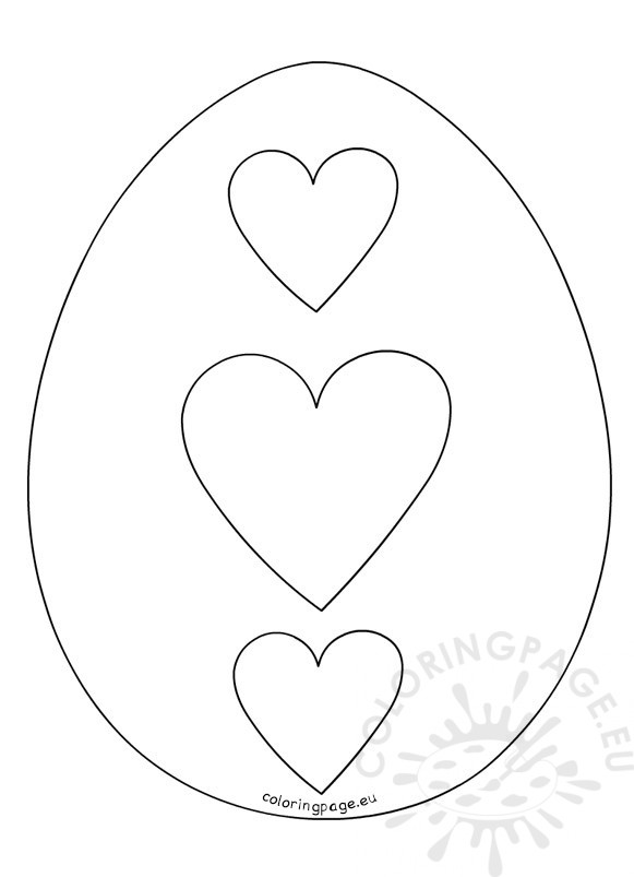 581x803 Hearts Easter Egg Outline Coloring Page