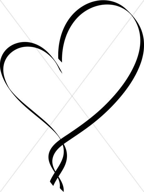 460x612 Ribbon Heart Outline Christian Heart Clipart