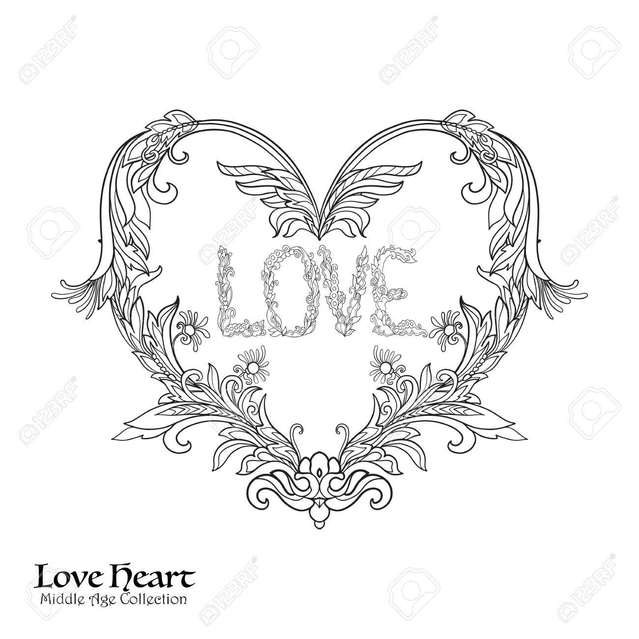1300x1300 Decorative Love Heart In Rococo, Victorian, Renaissance, Baroque