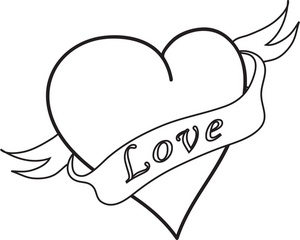 300x240 Flower Outlines For Coloring Love Clipart Image