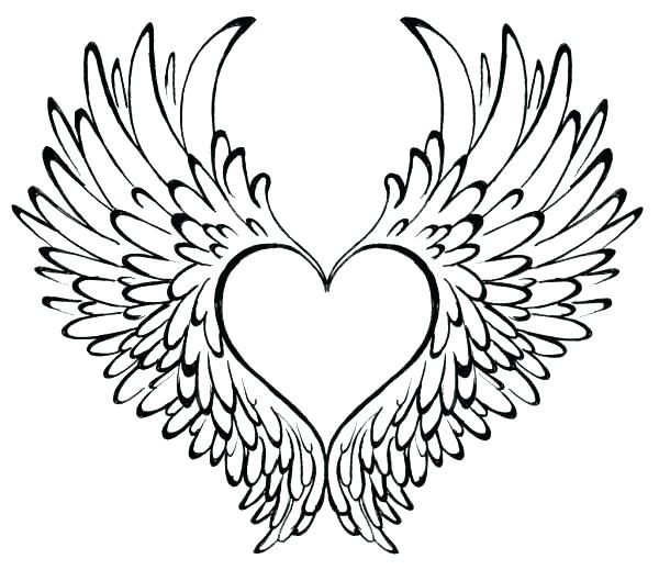 600x519 Heart Coloring Pages With Wings Coloring Pictures Of Hearts