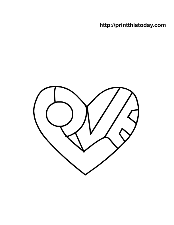 612x792 Heart To Color Free Printable Heart Coloring Page With I Love